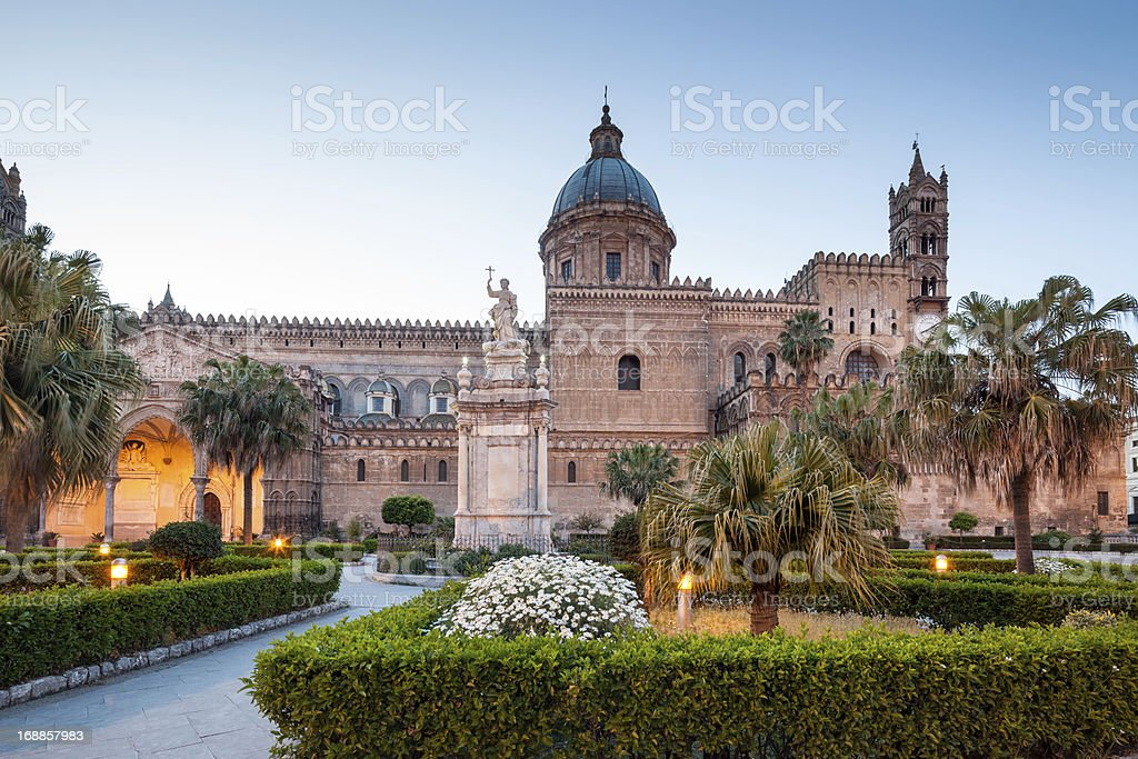 Palermo Cathedral at dusk, Sicily Italy stock photo