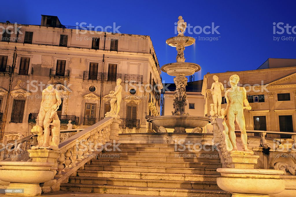 Palermo - Florentine founiain on Piazza Pretoria royalty-free stock photo