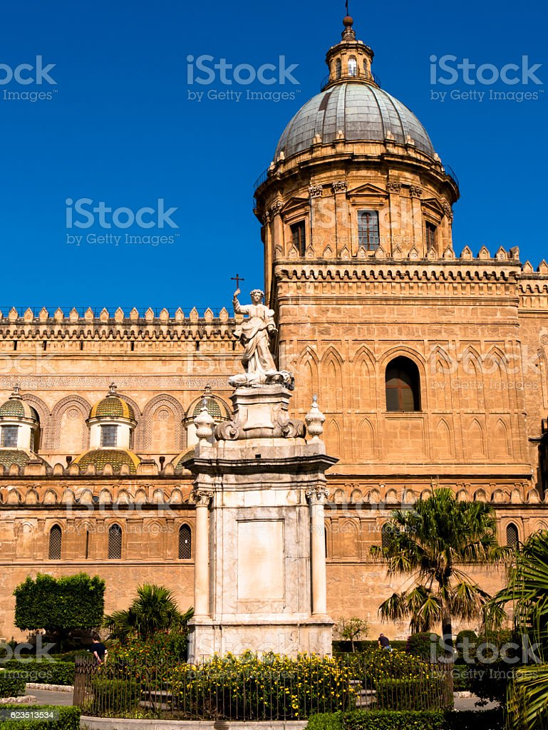 Palermo in Sicily, cathedral with monument of  saint  rosalia stock photo