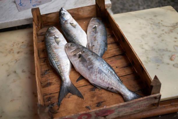Palermo, Italy Palermo, Italy - September 07, 2018 : Fishmonger kiosk in Ballaro market mercato stock pictures, royalty-free photos & images