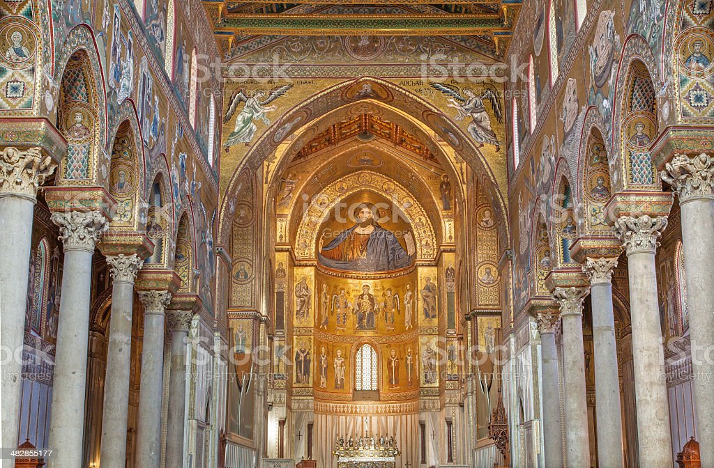 Palermo - Main nave of Monreale cathedral. stock photo