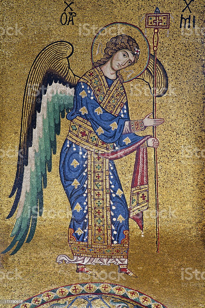 Palermo - Mosaic of Archangel Michael stock photo