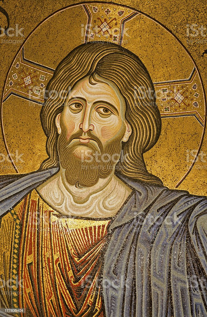 Palermo - Mosaic of Christ from Monreale cathedral stock photo