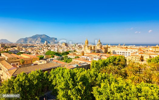 Panoramic view of Palermo, Sicily. Photo taken with drone.
