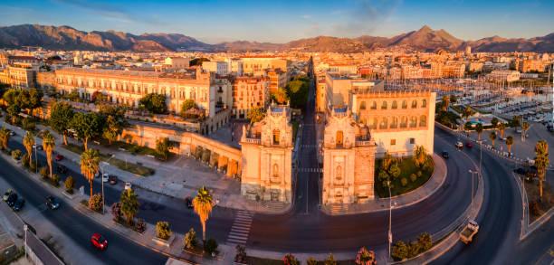 palermo - sol nascente horizonte drone cidade - fotografias e filmes do acervo