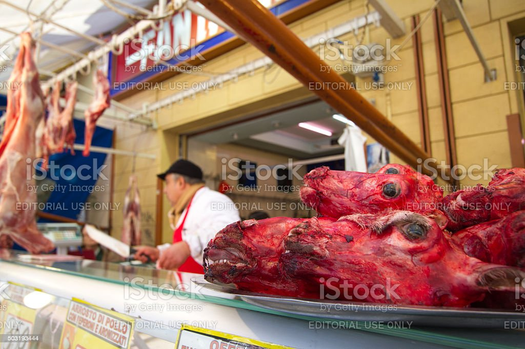 Palermo Sicily Butcher And Goat Heads At The Ballaro Market Stock Photo &  More Pictures of Adult