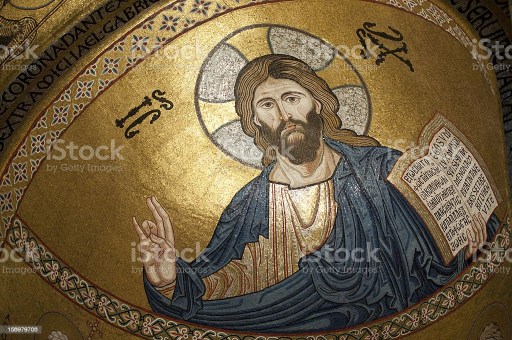 Palermo, Sicily, Cappella Palatina: Blessing Christ's Mosaic. stock photo