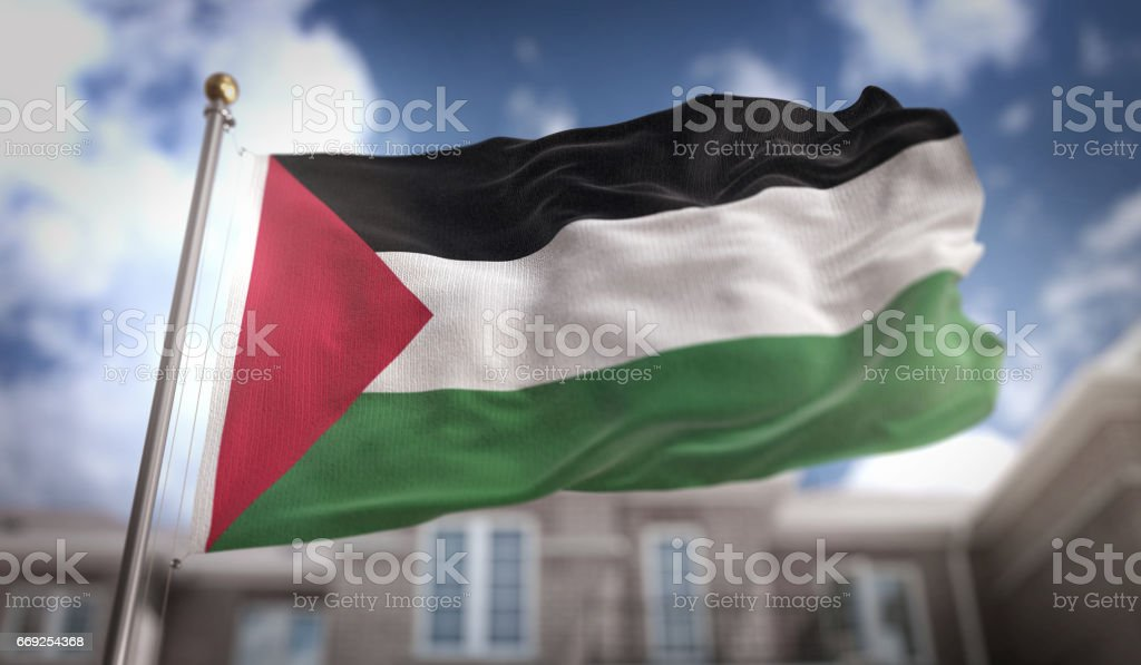 Palestine Flag 3D Rendering on Blue Sky Building Background stock photo