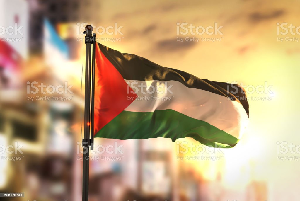 Palestine Flag Against City Blurred Background At Sunrise Backlight stock photo