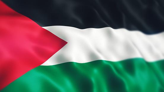 3D Render Palestine Flag (Depth Of Field)