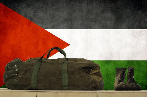 faded Palestine flag , Military footwear, military kitbag