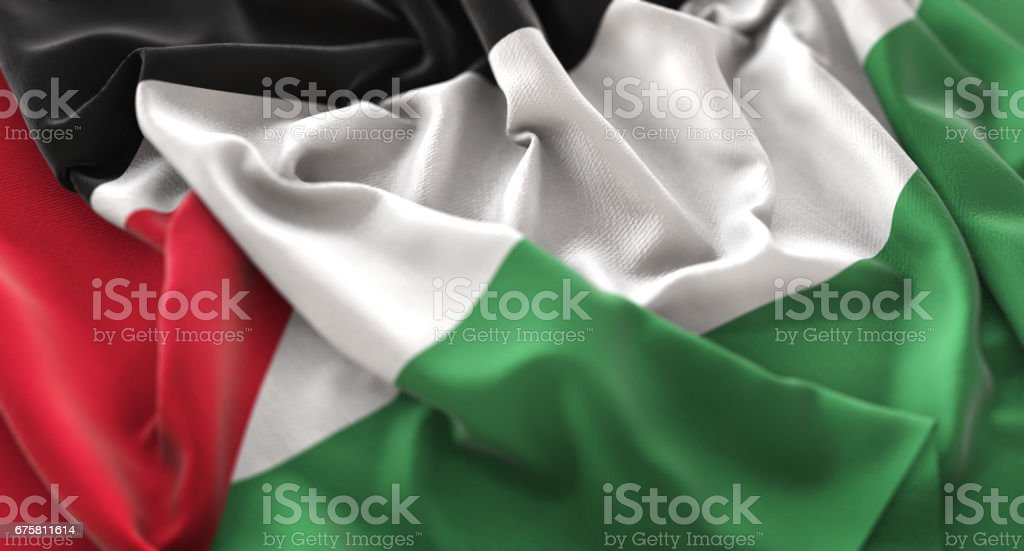 Palestine Flag Ruffled Beautifully Waving Macro Close-Up Shot stock photo