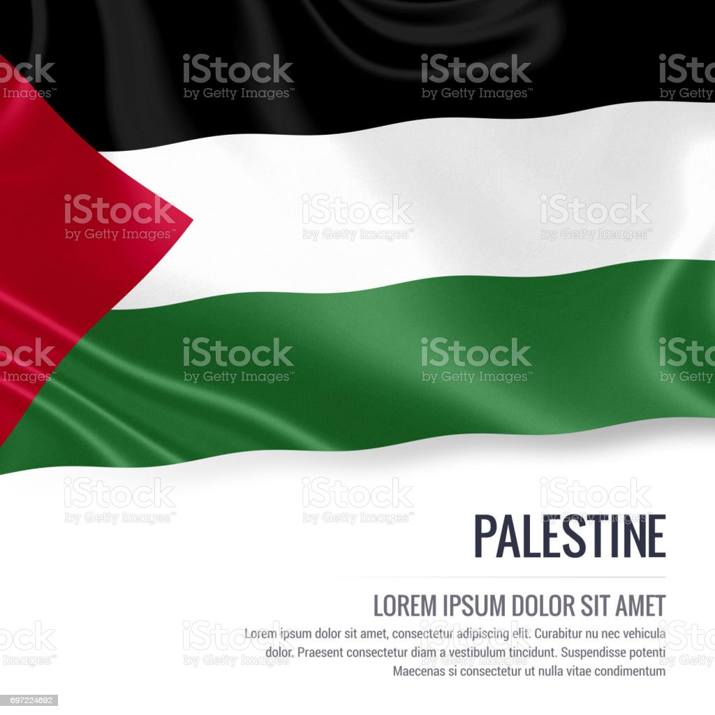 Palestine flag. Silky flag of Palestine waving on an isolated white background with the white text area for your advert message. 3D rendering. stock photo