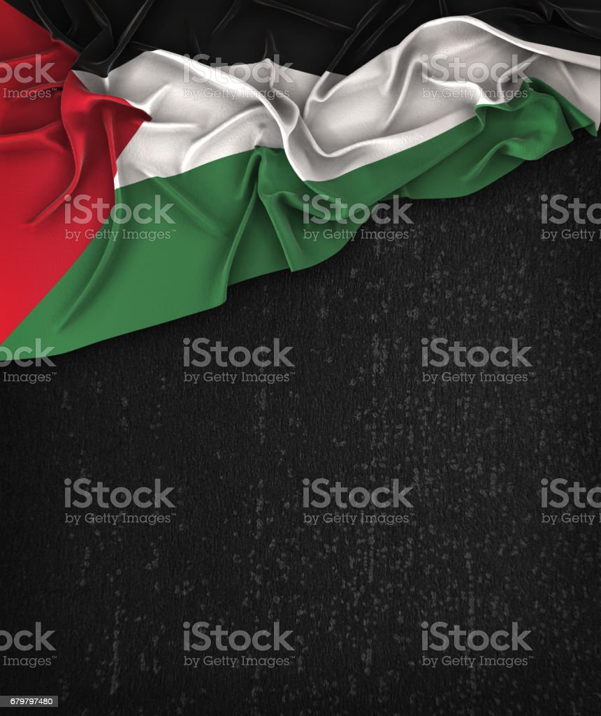 Palestine Flag Vintage on a Grunge Black Chalkboard With Space For Text stock photo