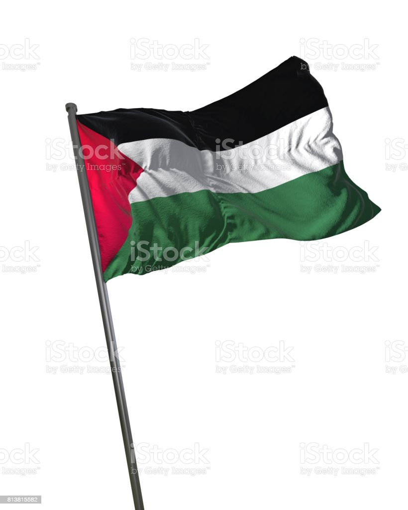 Palestine Flag Waving Isolated on White Background Portrait stock photo