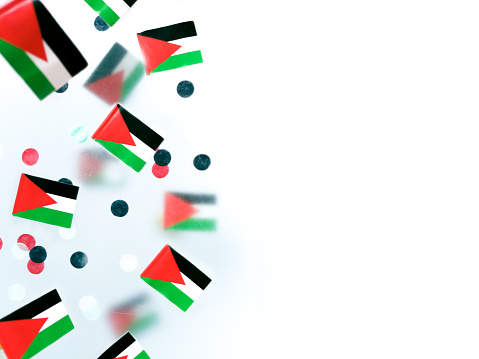 Palestine happy Independence Day from Israel. November 15. National flags on a foggy background, the concept of freedom, patriotism and memory