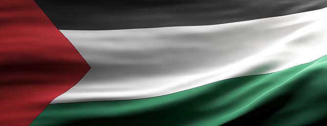 Palestine sign symbol,  national flag waving texture background, Palestinian language, culture concept, banner. 3d illustration
