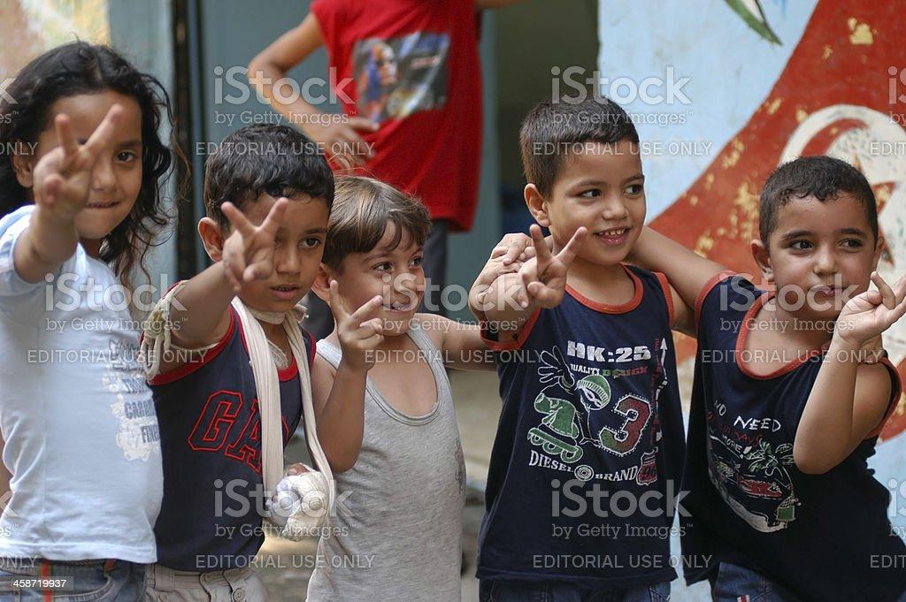 Palestinian Children in Refugee Camp stock photo