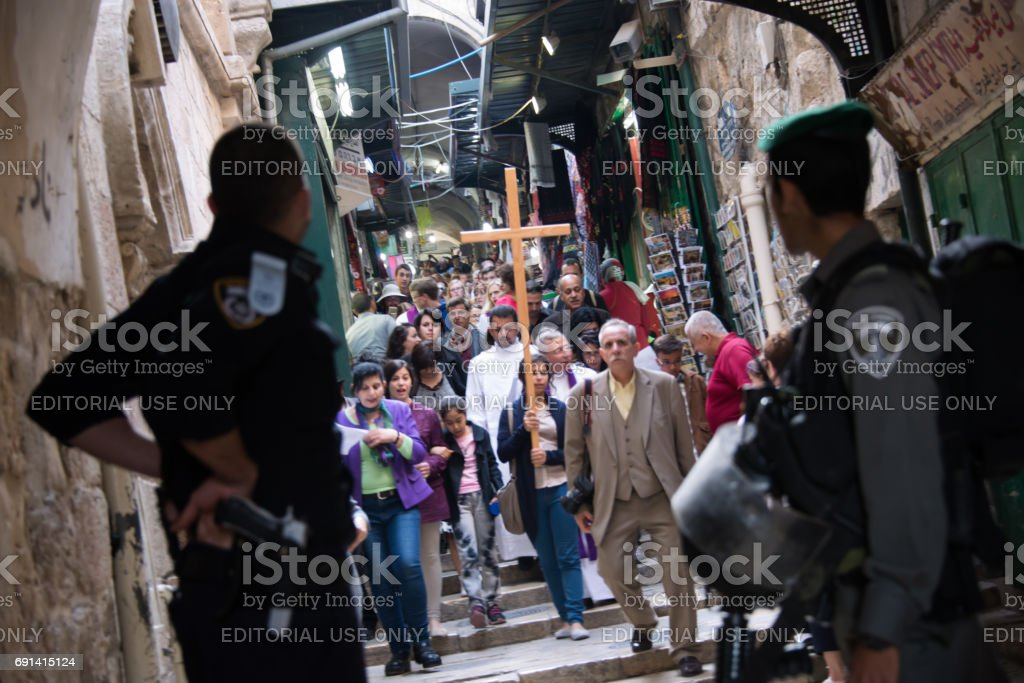 Palestinian Christians and Israeli Soldiers in Jerusalem stock photo