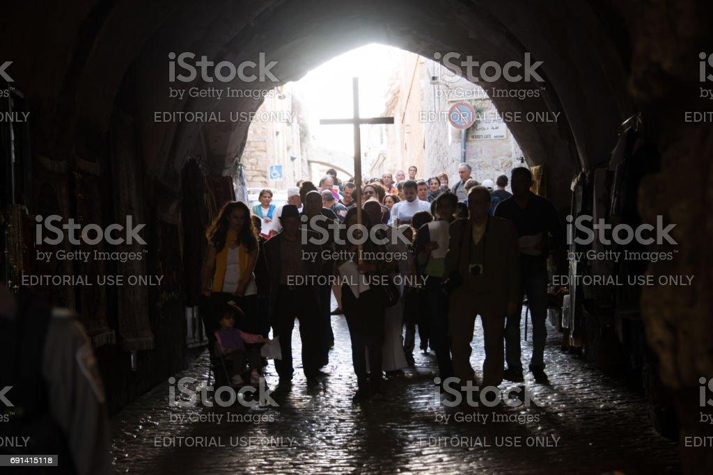 Palestinian Christians in Jerusalem stock photo