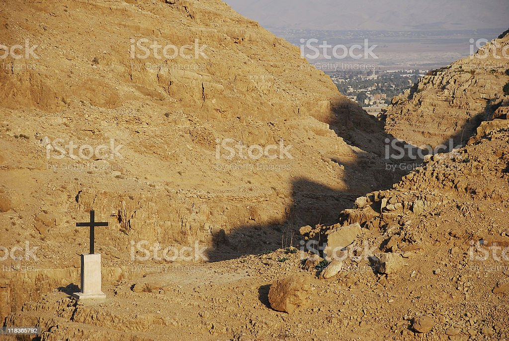 Palestinian city of Jericho and Wadi Kelt in West Bank royalty-free stock photo