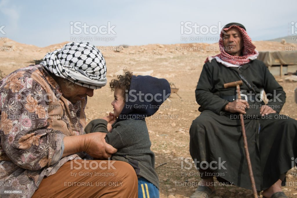 Palestinian family in Jordan Valley village stock photo