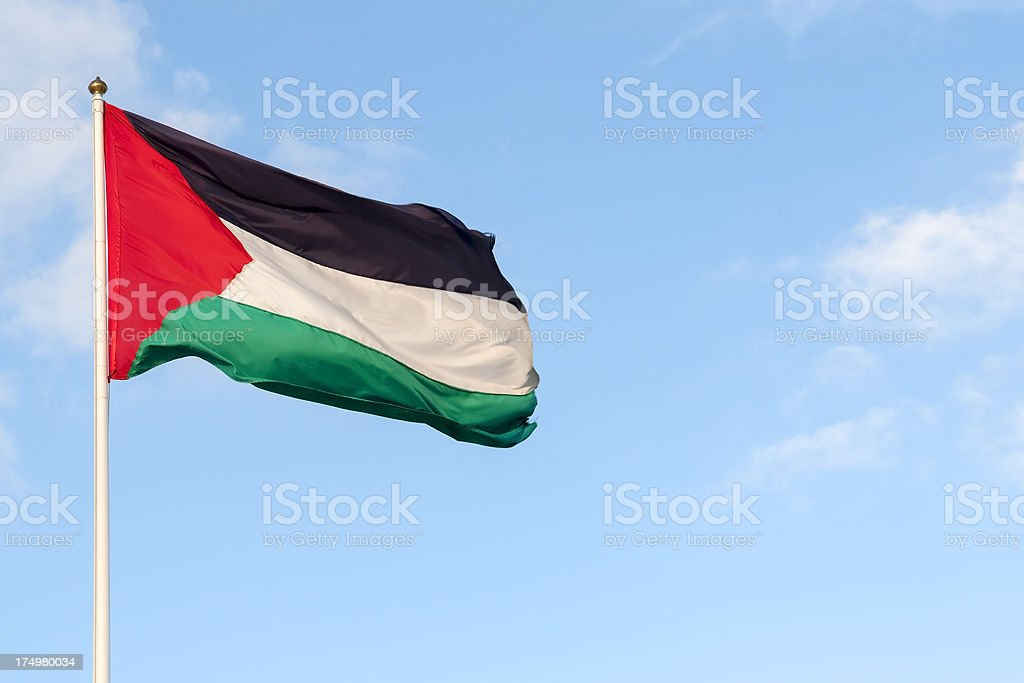 Flag of Palestine in the West Bank stock photo