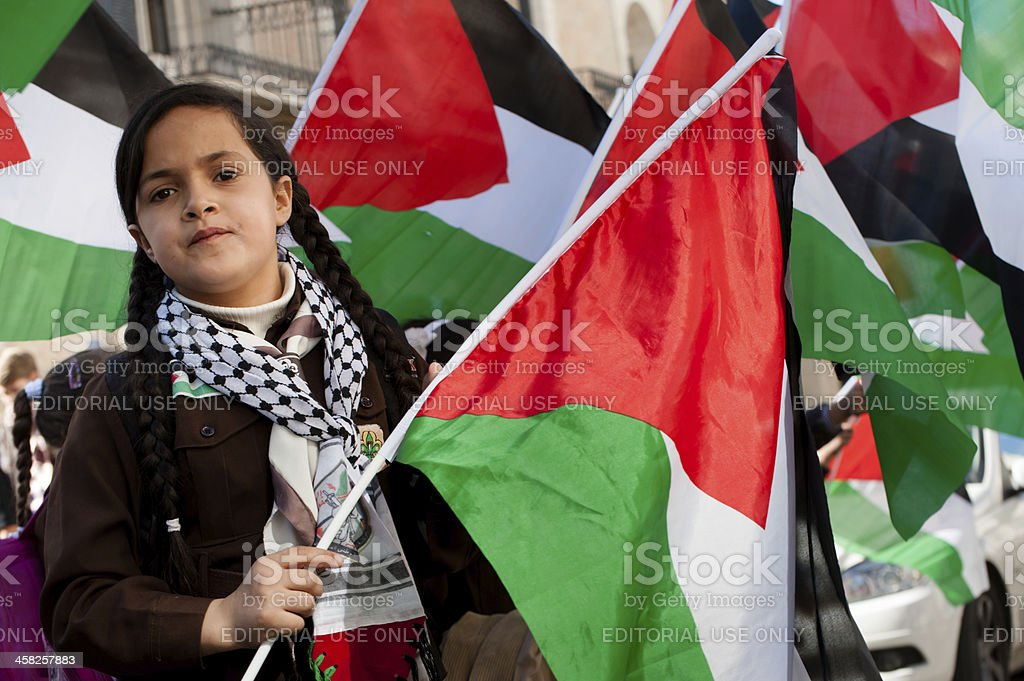 Palestinian girl with flags stock photo