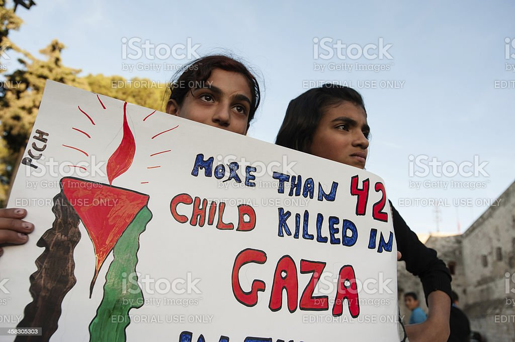 Palestinians protest attacks on Gaza stock photo