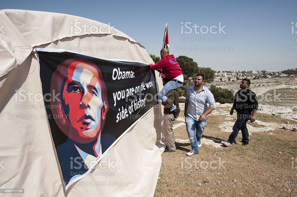 Palestinians protest Barack Obama royalty-free stock photo