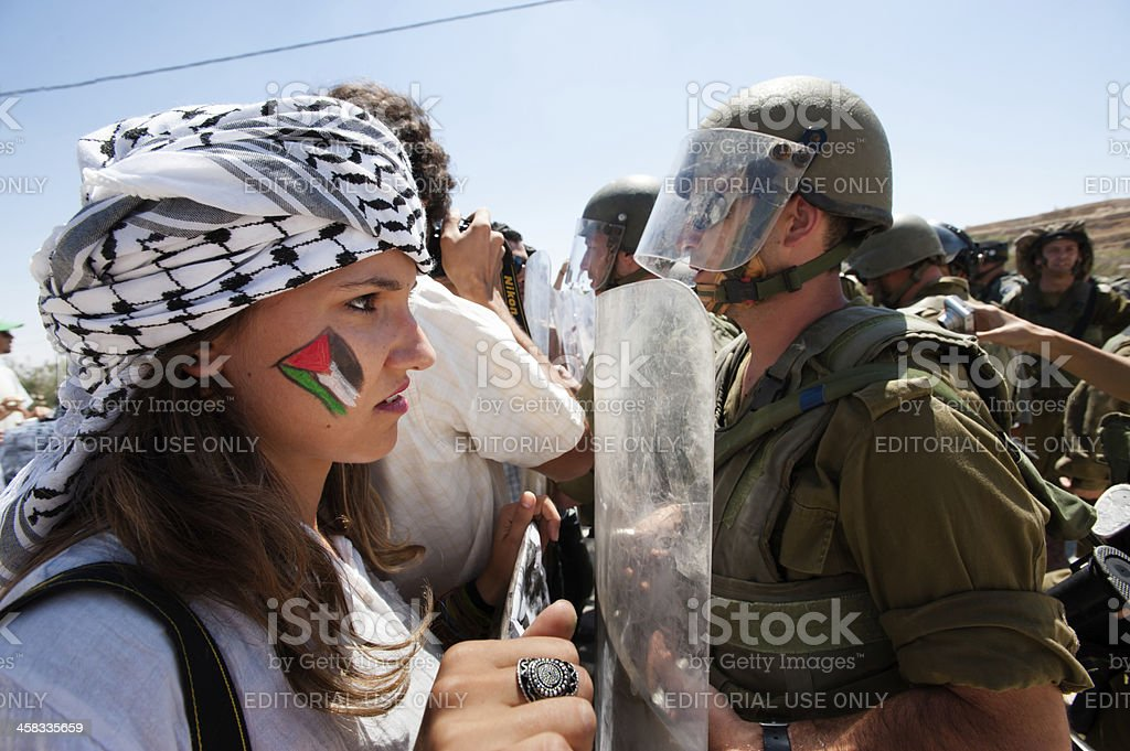 Palestinians protest Israeli wall stock photo