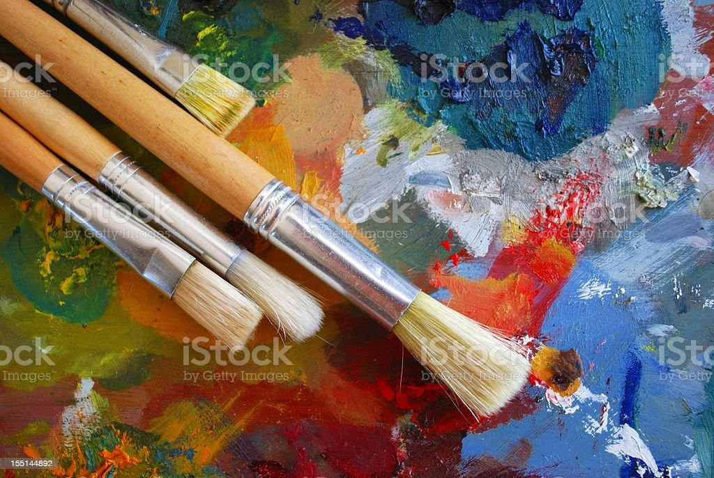 Palette and Brushes Background royalty-free stock photo
