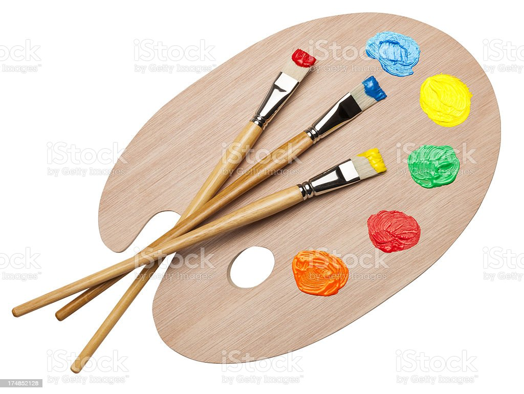 Palette and brushes stock photo