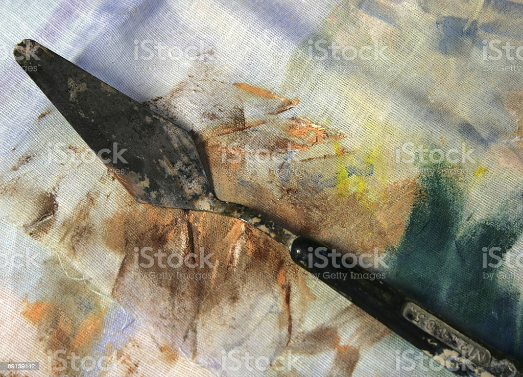 palette knife on fabric royalty-free stock photo