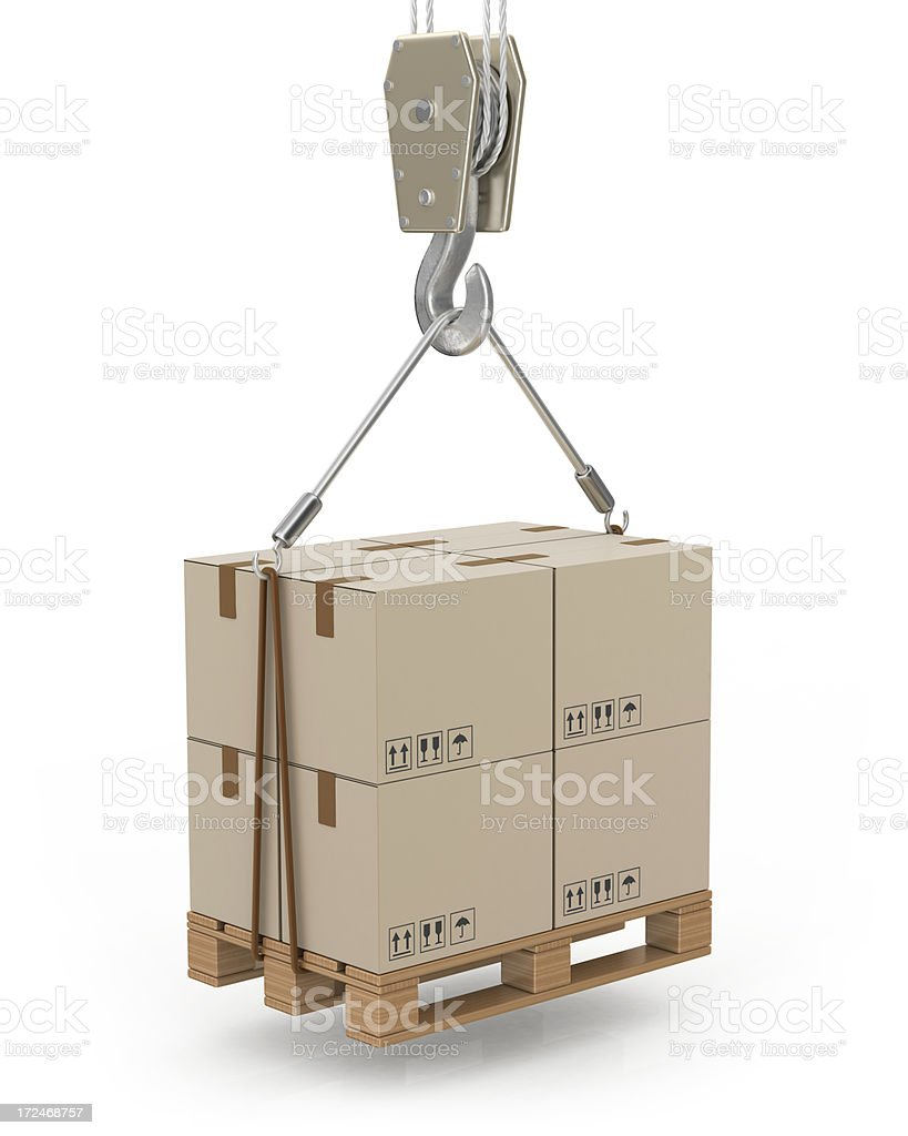 Palette Lifted by Crane royalty-free stock photo