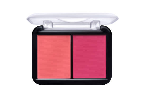 A palette of double blush for the face isolated on white. Make-up product A palette of double blush for the face isolated on white. Make-up product. blusher make up stock pictures, royalty-free photos & images