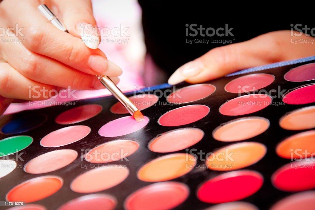 Palette of multi-coloured paints stock photo