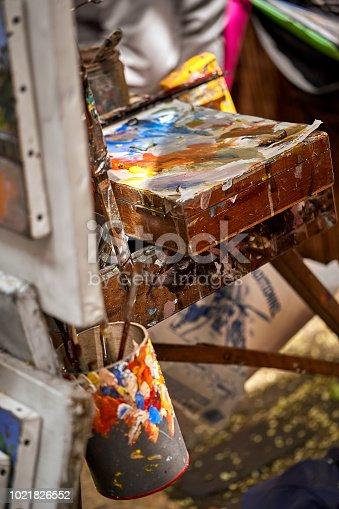 istock Palette of paints in a school 1021826552