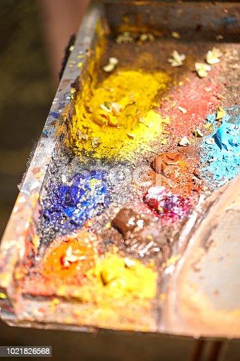 istock Palette of paints in a school 1021826568