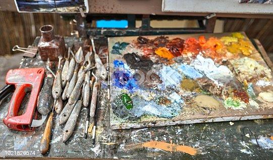 istock Palette of paints in a school 1021826574