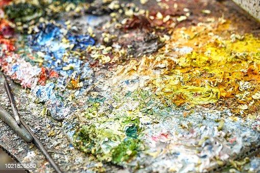 istock Palette of paints in a school 1021826580
