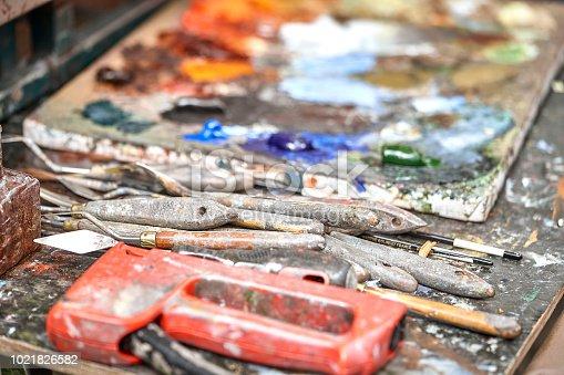 istock Palette of paints in a school 1021826582