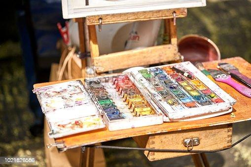 istock Palette of paints in a school 1021826586