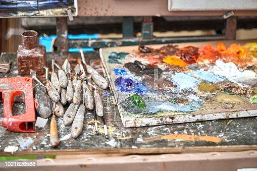 istock Palette of paints in a school 1021826588