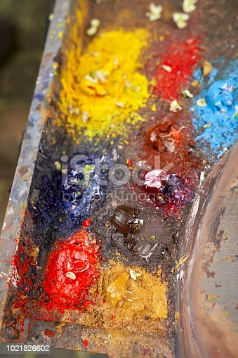 istock Palette of paints in a school 1021826602