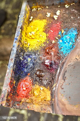 istock Palette of paints in a school 1021826626