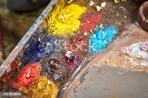 istock Palette of paints in a school 1021826640