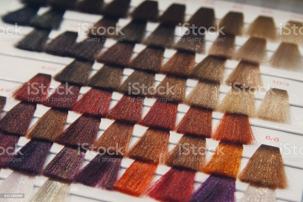 Palette of various patterns of colored hair stock photo