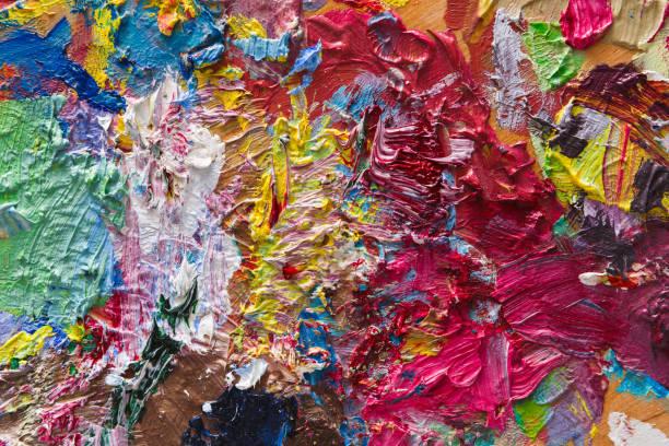 renkli karma yağlı boya doku paleti - tuval üzerine akrilik stok fotoğraflar ve resimler