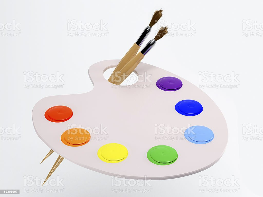 palette with paintbrush and paint royalty-free stock photo